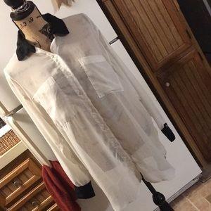 American Apparel cream oversized chiffon shirt